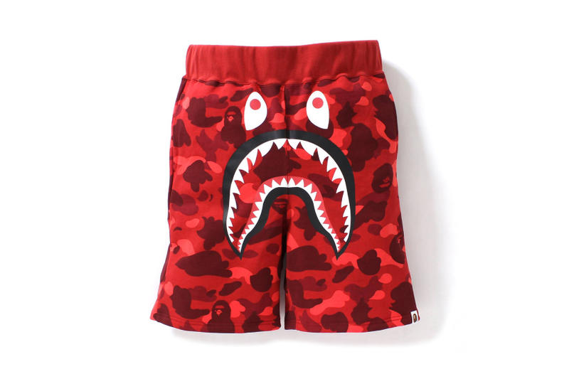 BAPE 1ST CAMO Shark Sweat Shorts Streetwear Fashion Clothing Bottoms Camo Blue Red Multi Color