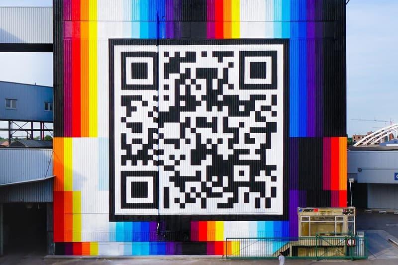 Felipe Pantone QR Code Mural Street Art Montana Spray Can Street Art Festival