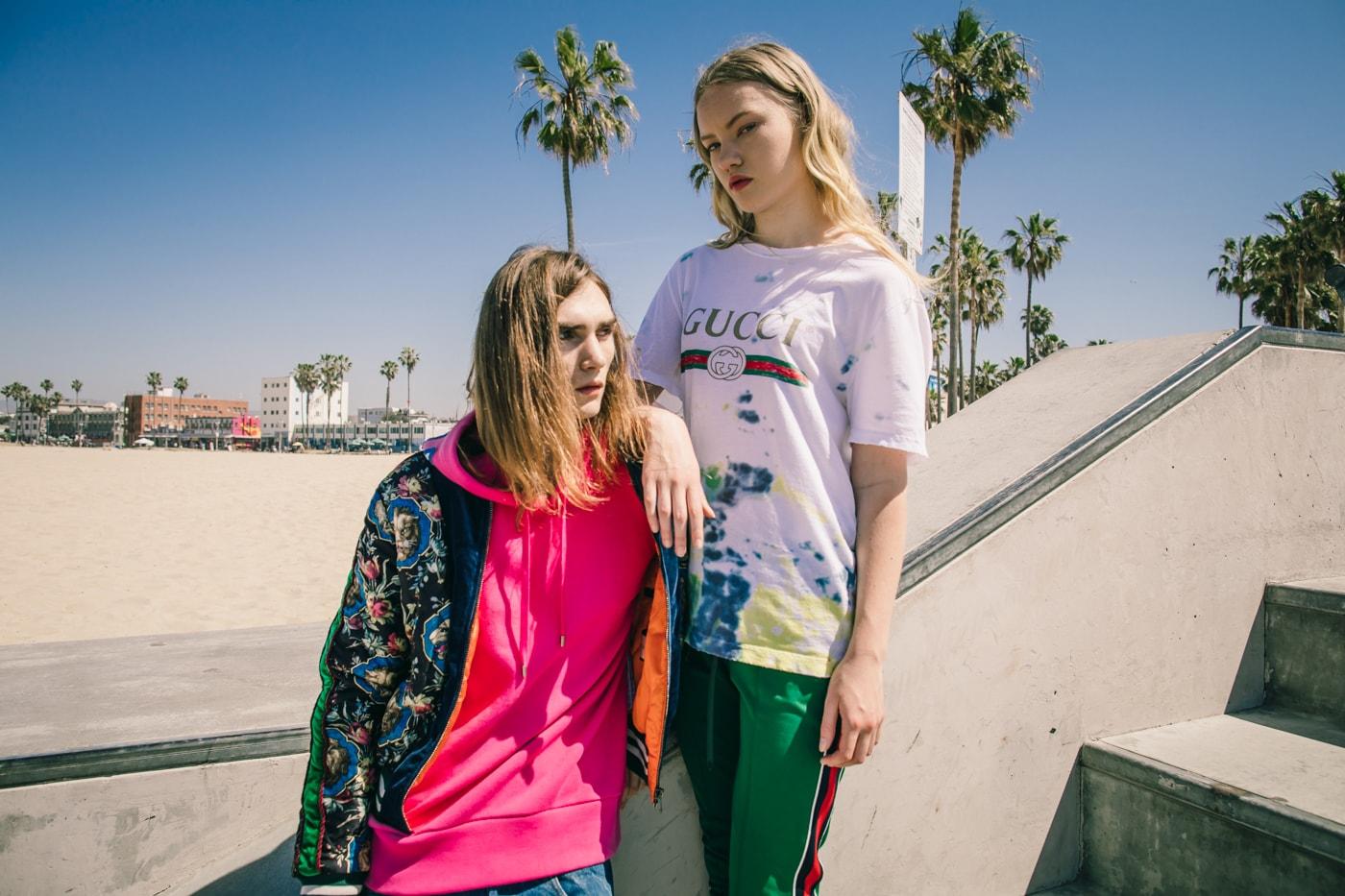 Gucci 2017 Pre-Fall Collection Editorial Silk Bomber Jacket Gucci Logo Shirt