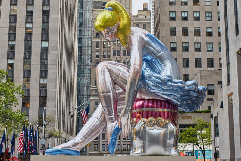 Jeff Koons Seated Ballerina sculpture rockefeller center new york city artwork installation