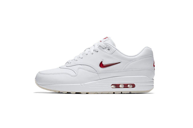 Nike Air Max 1 Jewel White Red White Black Mini Swoosh dcc101b5dcd0