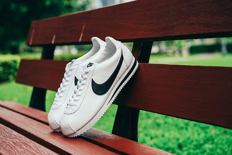 Nike Classic Cortez Leather Nylon Black White Navy