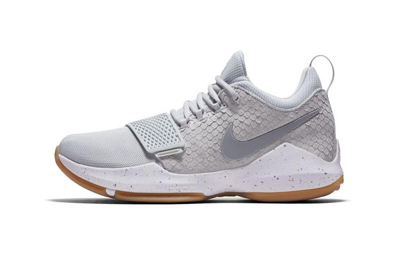 "Nike PG1 ""Pure Platinum"" Release Date fish scale uppers and gum outsoles"
