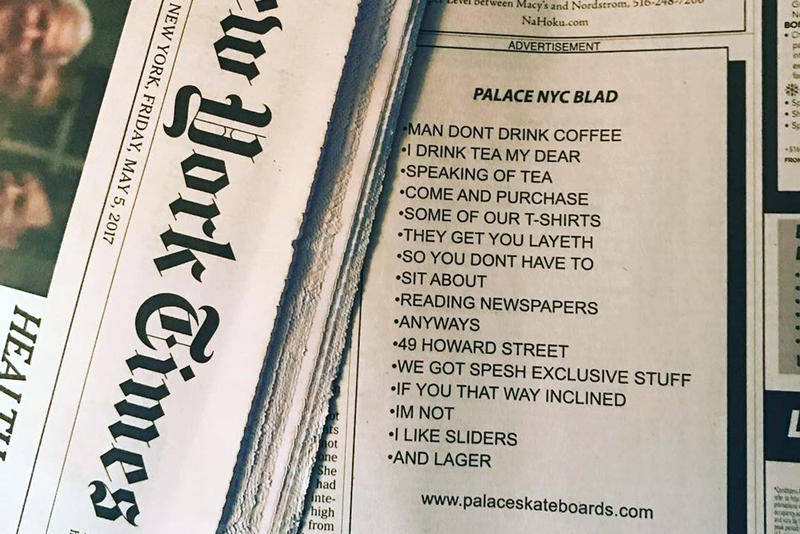 Palace Skateboards The New York Times advertisement
