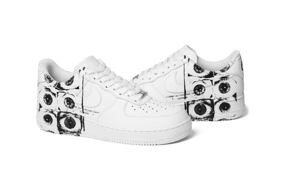 Supreme COMME des GARÇONS SHIRT Nike Air Force 1 Low White Black Eyeballs Collaboration Variant