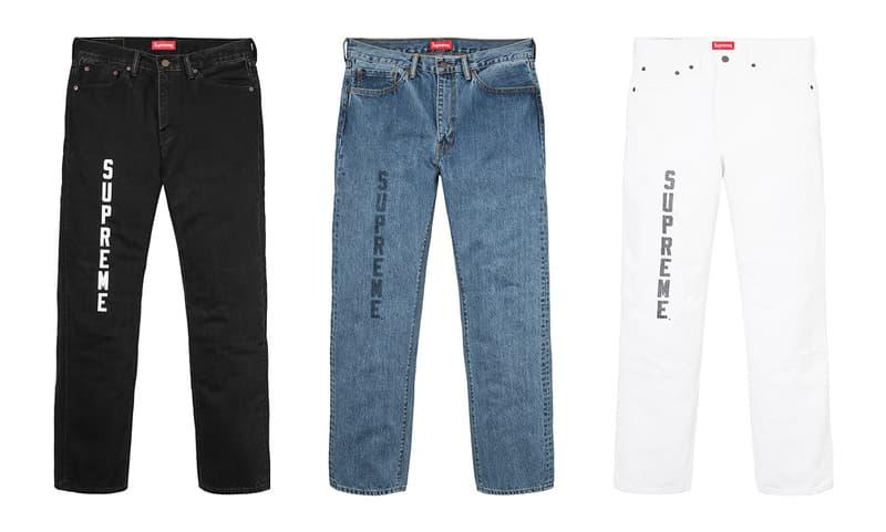 Supreme x Levi's 2017 Jeans Black Indigo White Front