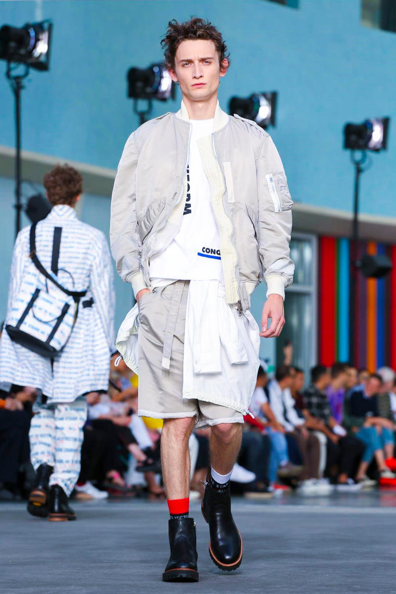Sacai 2018 Spring/Summer Collection Paris Fashion Week Men's Runway Show ss18 pfw Chitose Abe Lawrence Weiner all in due course as in vector stasis