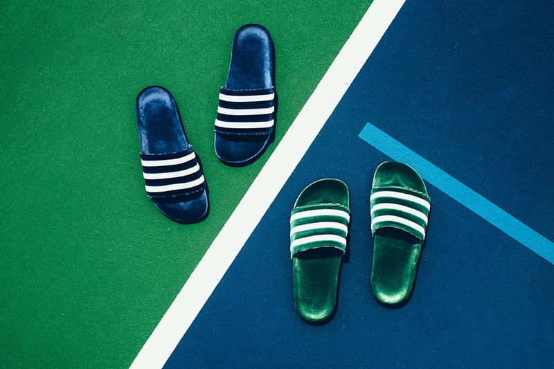 check out 439ac 7d444 adidas Adilette Velvet Slides Mystery Blue Collegiate Green