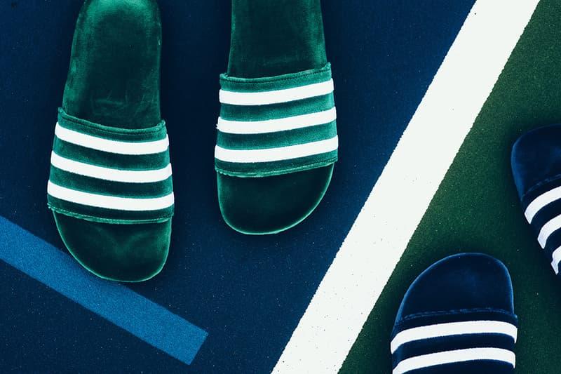 adidas Adilette Velvet Slides Mystery Blue Collegiate Green