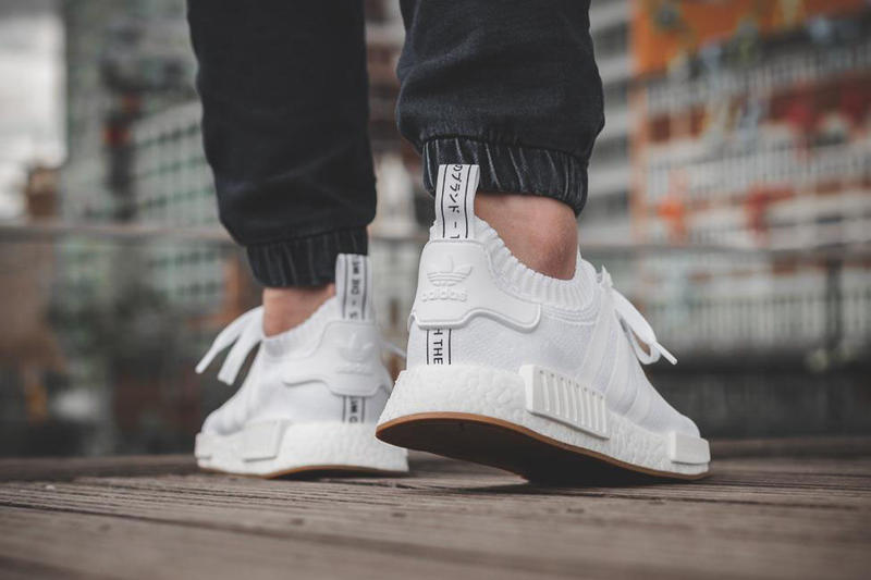 nmd r1 white gum on feet