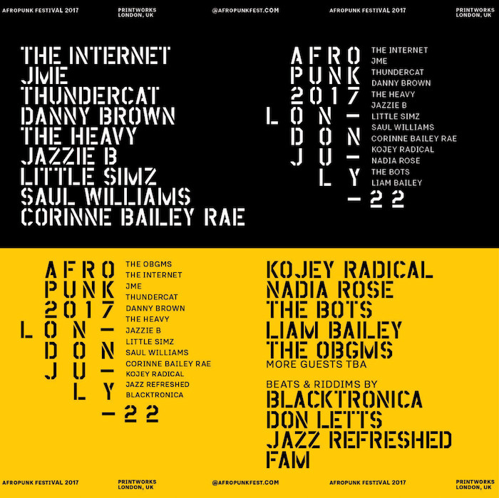 Afropunk London 2017 Lineup The Internet, JME, Danny Brown, Willow Smith, Thundercat, NAO, Little Simz, Corinne Bailey Rae