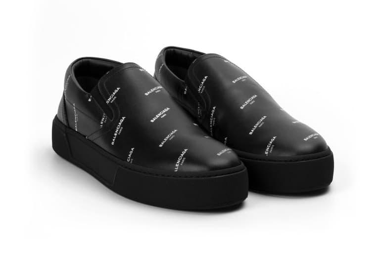 Balenciaga Logo Slip-ons Black White