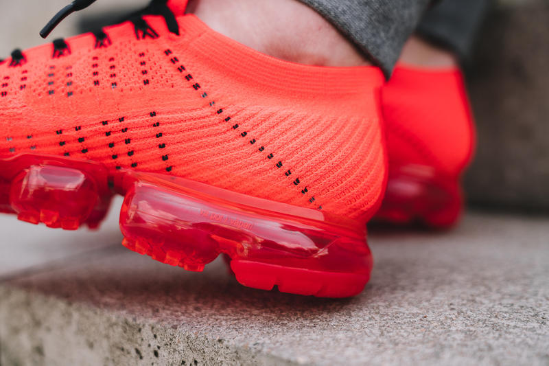 3dbbf7c675b2 CLOT Nike Air VaporMax Flyknit On Feet Red Edison Chen Limited Edition