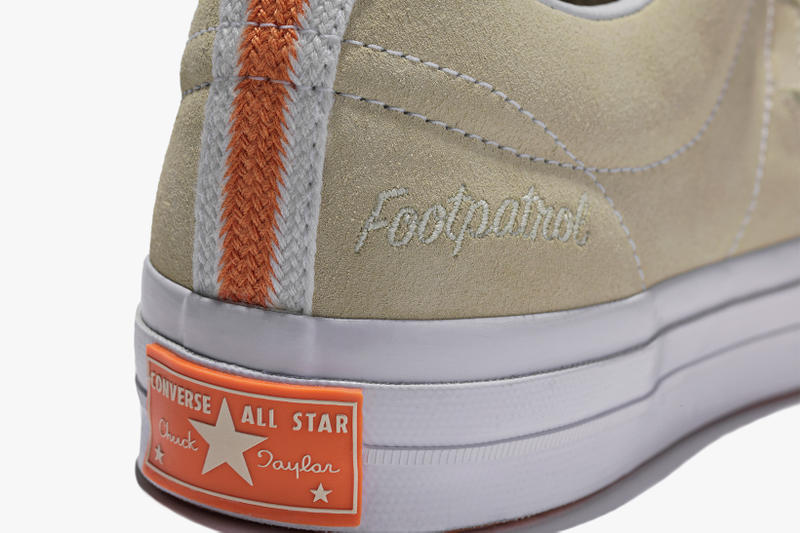 Foot Patrol x Converse One Star collaboration taupe close up heel