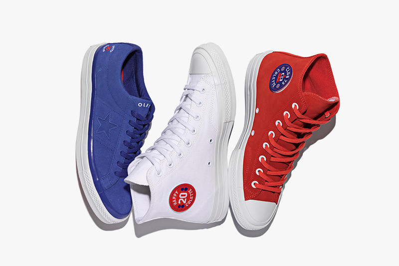 Converse x colette x Club 75 Triple C Collaboration blue One Star red and white Chuck Taylor '70s composed shot