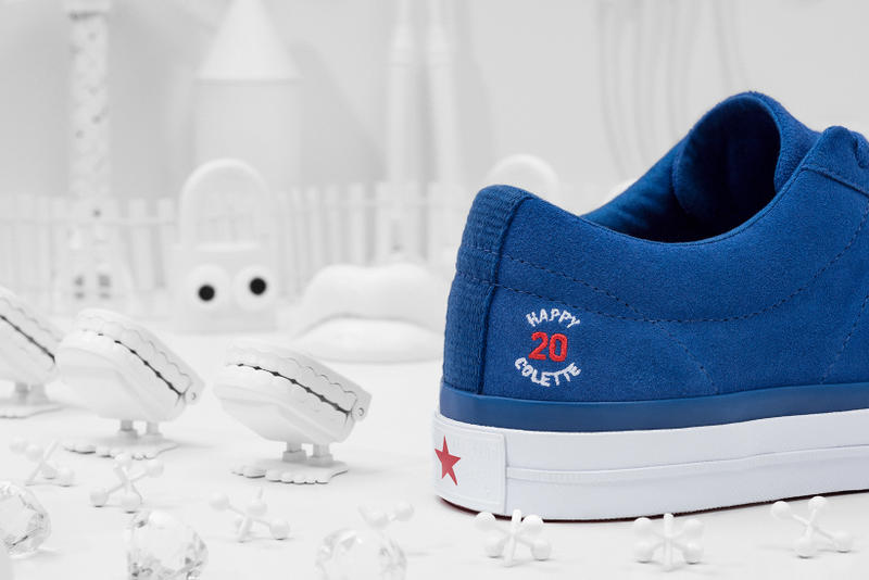 Converse x colette x Club 75 Triple C Collaboration One Star blue other heel close up