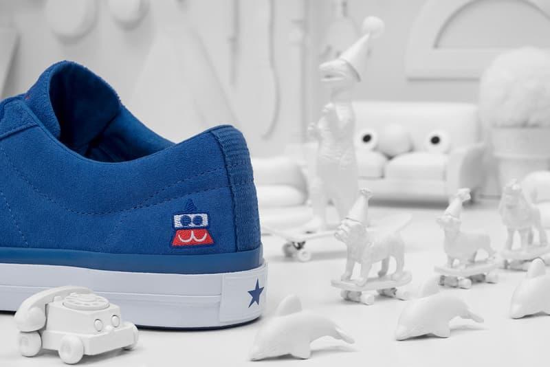 Converse x colette x Club 75 Triple C Collaboration One Star blue heel close up