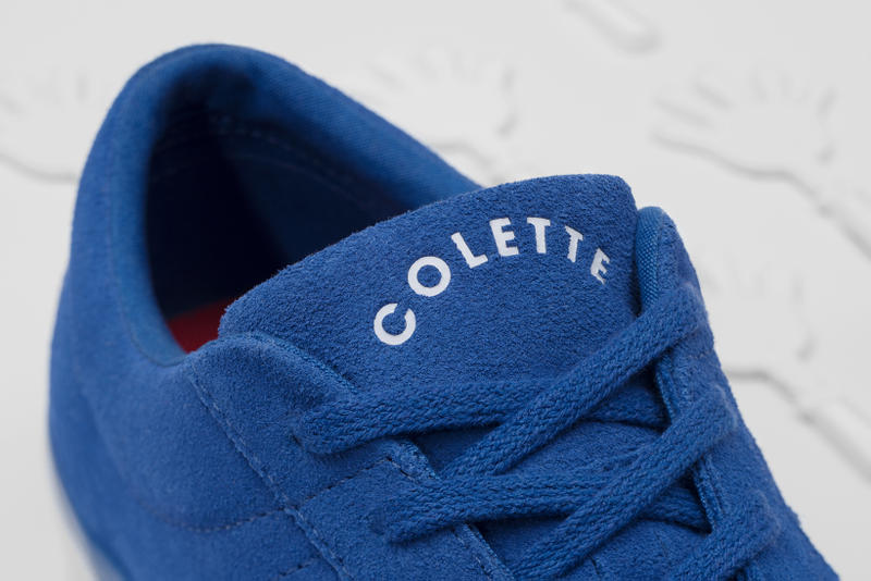 Converse x colette x Club 75 Triple C Collaboration One Star blue tongue close up