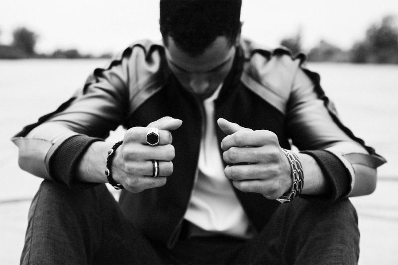 David Yurman Forged Carbon Collection Spring Summer 2017 Band Ring, Signet Ring, holding Tag Necklace