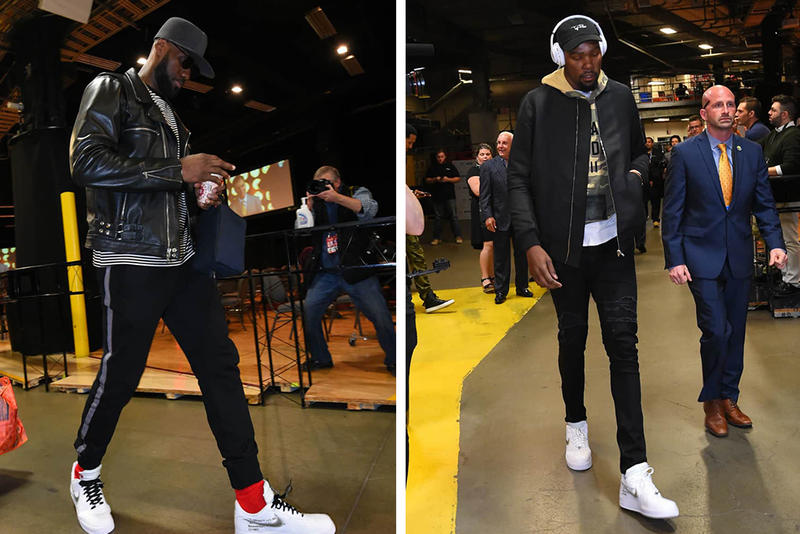 LeBron James Wears OFF-WHITE Nike Air Force 1 Kevin Durant