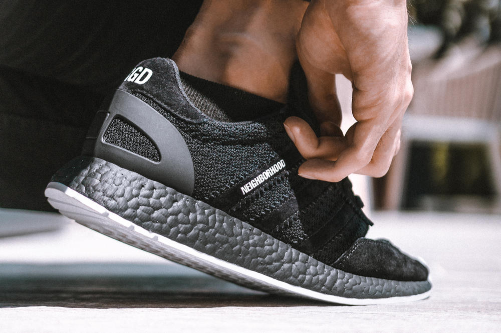 NEIGHBORHOOD adidas Originals Iniki Runner BOOST Black White Primeknit Suede Brigade Closer Look