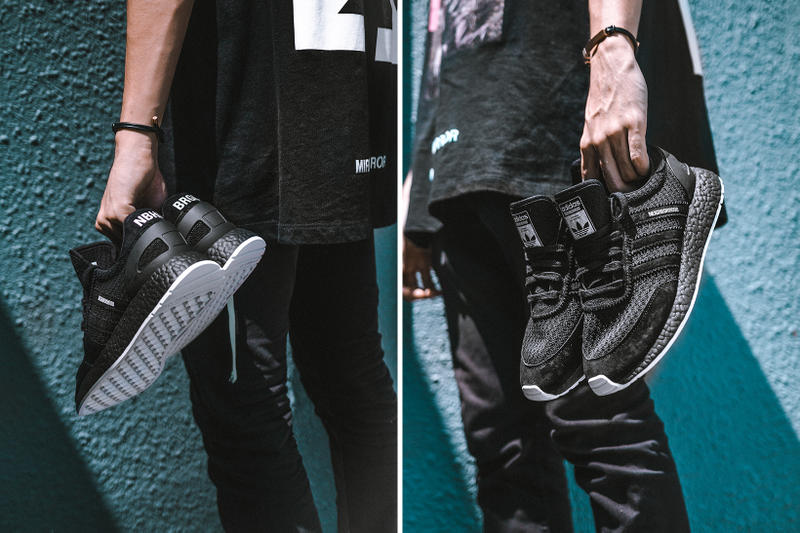 NEIGHBORHOOD adidas Originals Iniki Runner BOOST Black White Primeknit Suede Brigade Closer Look