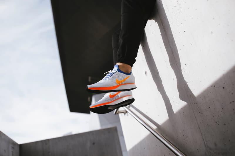 Nike Air Zoom Mariah Flyknit Racer White Hyper Crimson On Feet