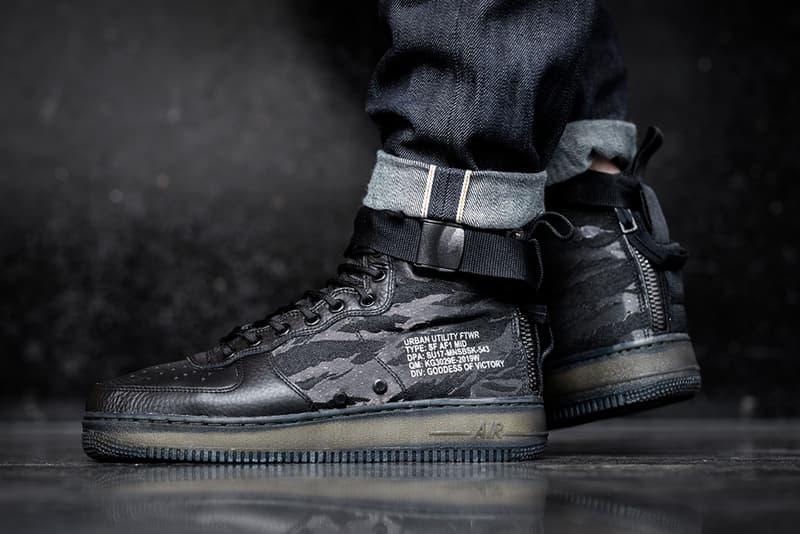 Nike SF AF1 Mid Black Tiger Camo On Feet