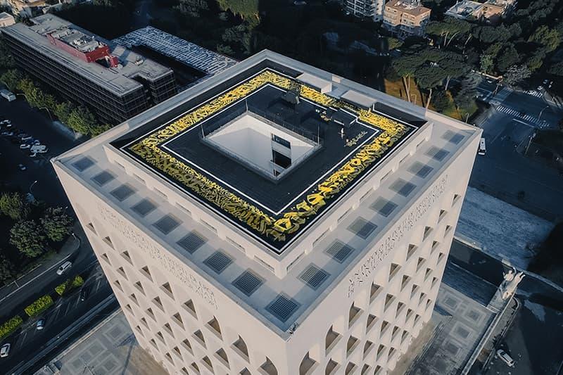 Pokras Lampas Calligraffiti Rooftop Mural Fendi Headquarters Palazzo Della Civiltà Italiana