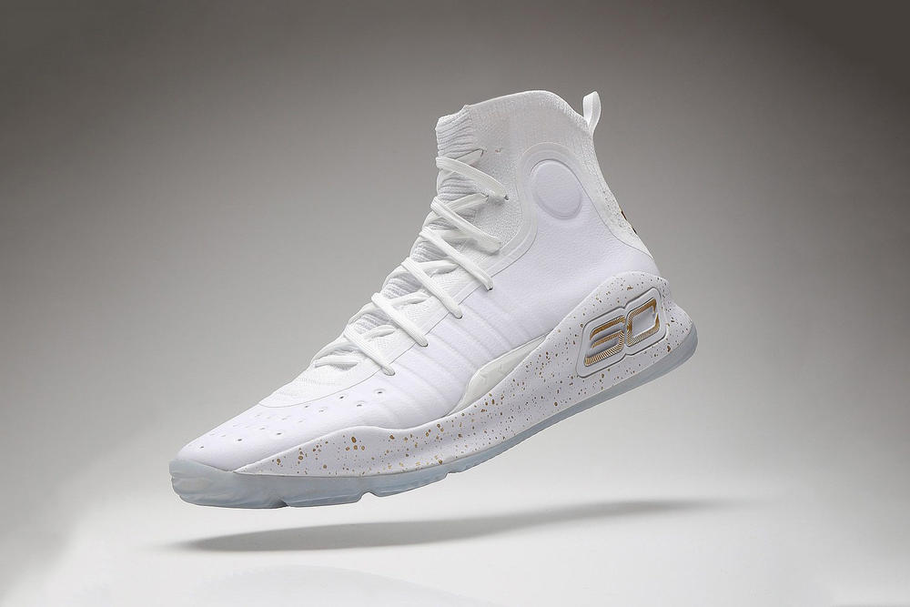 Under Armour Curry 4 Closer Look White Gold Golden State Warriors Basketball NBA