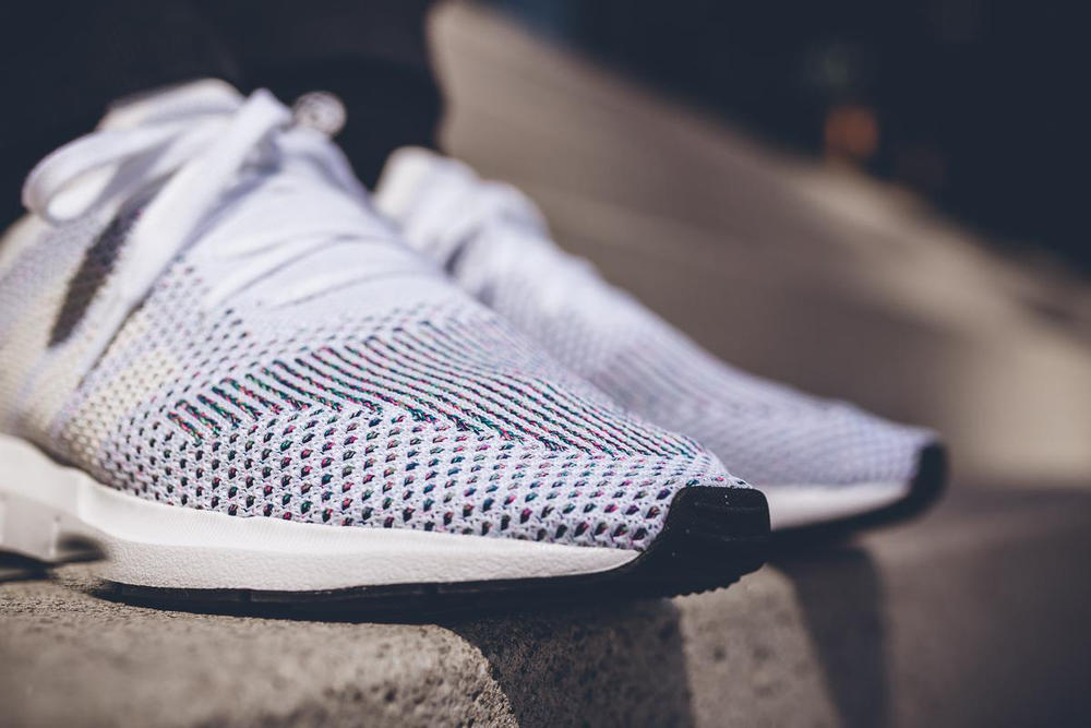 adidas Swift Run Primeknit On Feet Core Black Grey Five One White Sneakers Shoes Footwear 2017 July multicolor