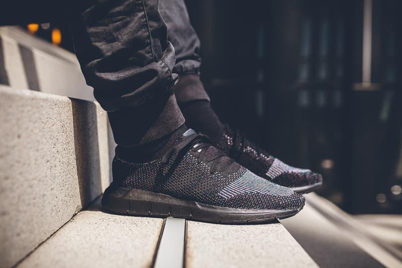 adidas Swift Run Primeknit On Feet Core Black Grey Five One White Sneakers Shoes Footwear 2017 July multicolor