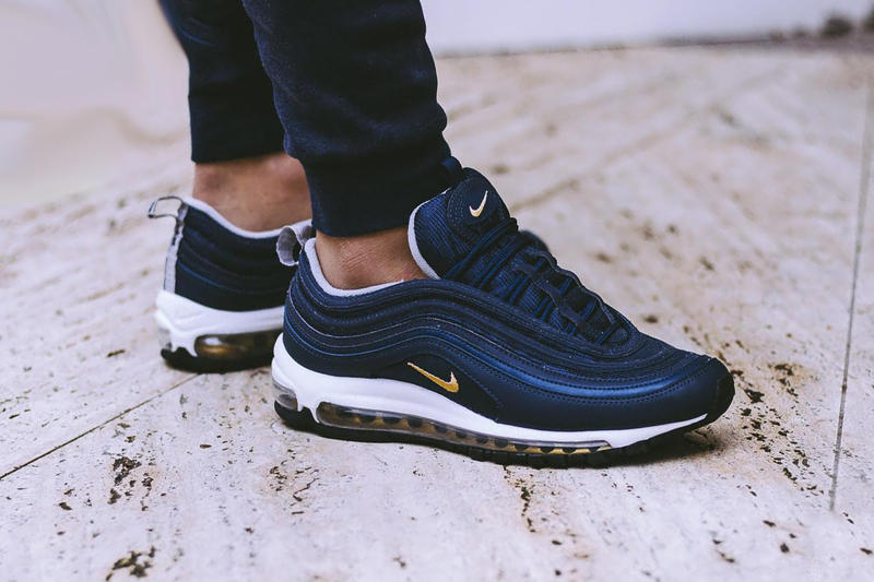 online retailer cfea4 a8f5e Nike Air Max 97 On Feet Navy Grey Black