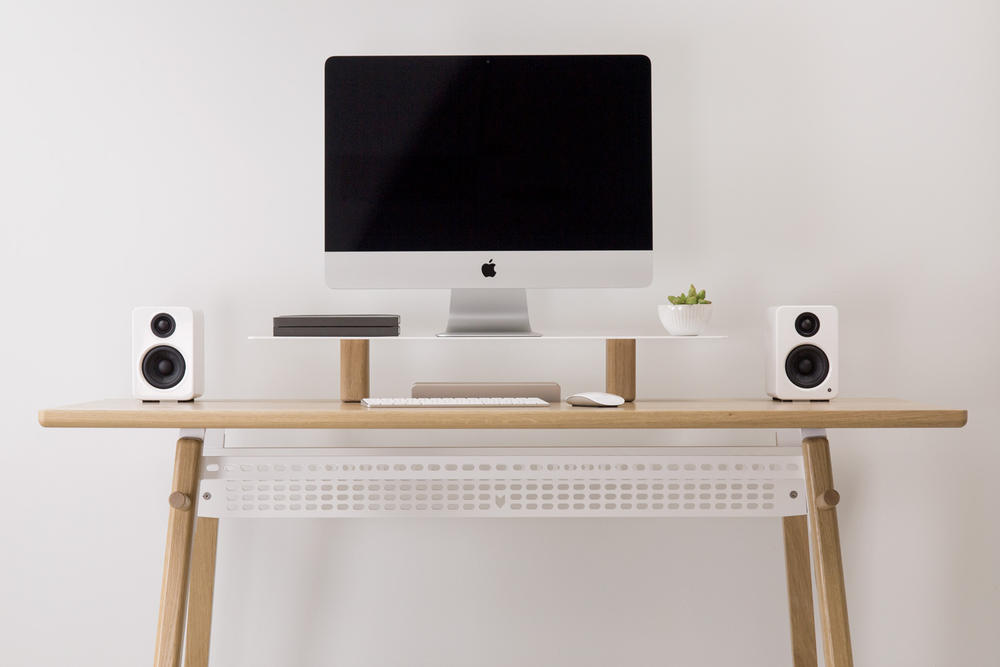 ARTIFOX STANDING DESK 02 LARGE STAND Workspace Built in Dock Cable Grid White Oak Walnut