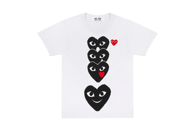 COMME des GARÇONS PLAY Emoji Play T-Shirt Hearth With Eyes Red Black White
