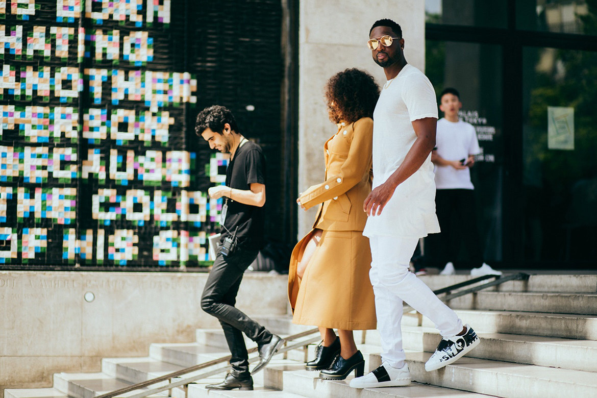 dwyane dwayne wade gabrielle union Luka Sabbat style fashion dress clothes paris fashion week 2017 men's 2018 spring summer thom browne dog bag purse rick owens Berluti gucci