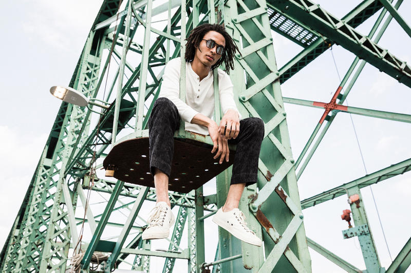 John Varvatos Eyewear 2017 Fall Lookbook The Stardust sitting on beam