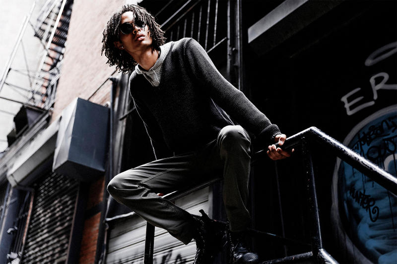John Varvatos Eyewear 2017 Fall Lookbook The Windsor sitting on banister