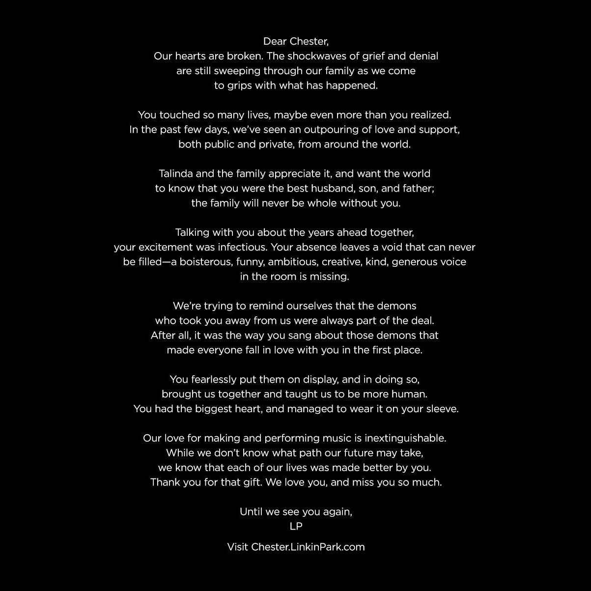 Linkin Park メンバーが天国の Chester へ向けた手紙を公開