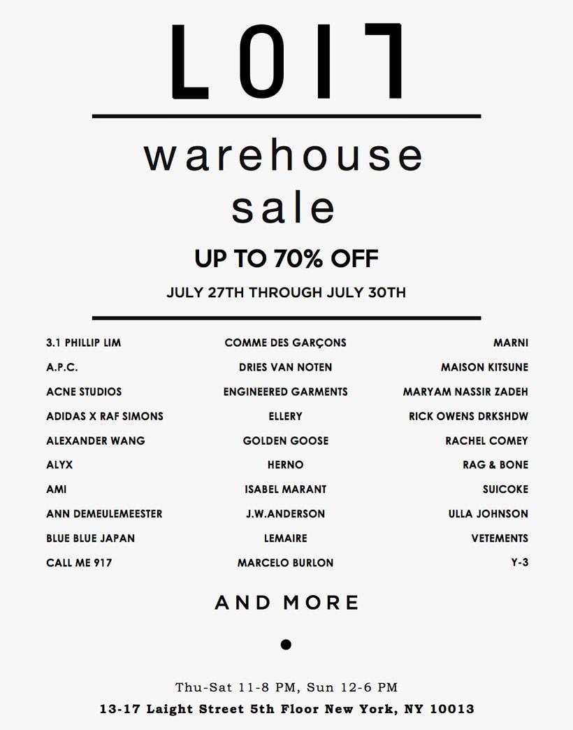 LOIT Warehouse Sale in NYC July 27