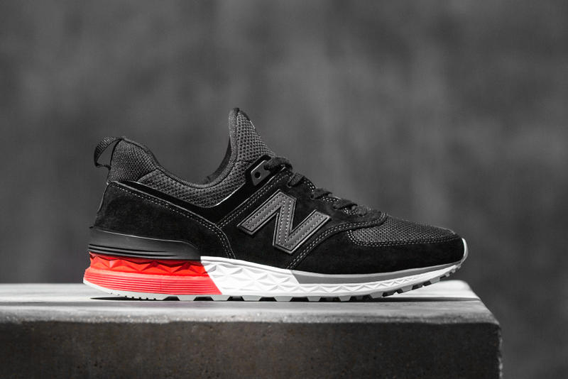 New Balance 574 Sport 574S Black White Premium Nubuck Suede Mesh