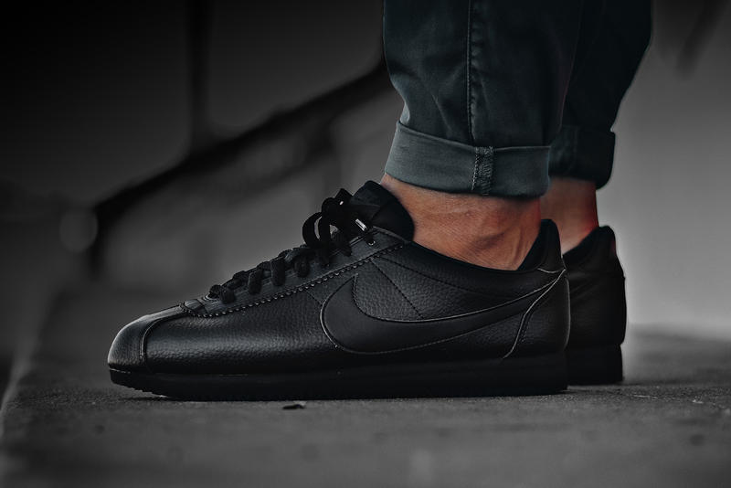superior quality 8addf 821d5 Nike Cortez Leather Triple Black On Feet Shoes Sneakers Footwear 2017 July  Release Date Info