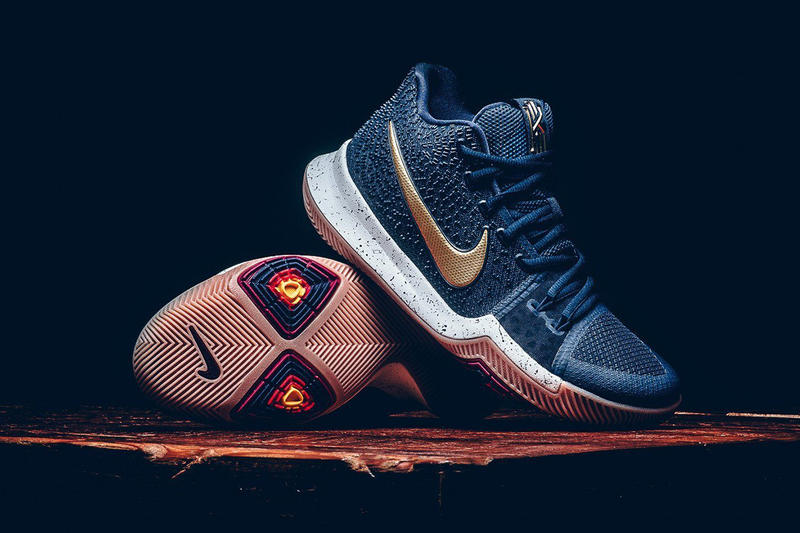 newest c29cc 7c51c Coming in the alternate Cavs colors. Nike Kyrie 3 Obsidian Metallic Gold Kyrie  Irving Cleveland Cavaliers