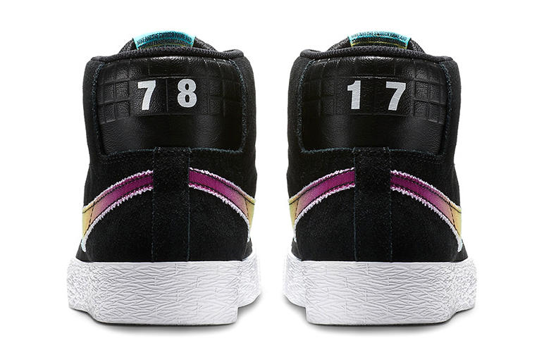 Nike SB Blazer Mid 78 17 Sneakers Shoes Footwear 2017 Release Gradient Quilted Leather Suede Black tony alva skateboard movie