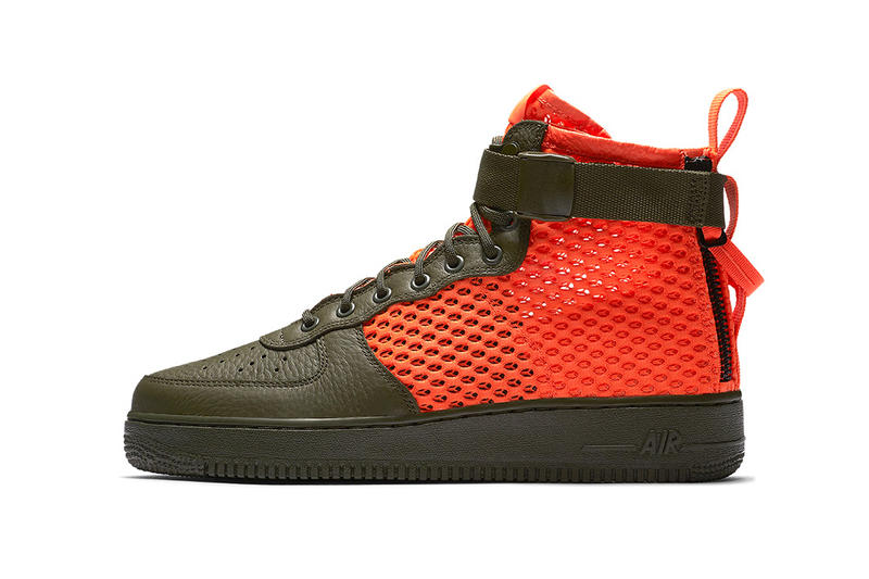 Nike SF AF1 Mid Cargo Khaki Total Crimson Mesh Sneakers Shoes Footwear Air Force 1 2017 August Release Date Info