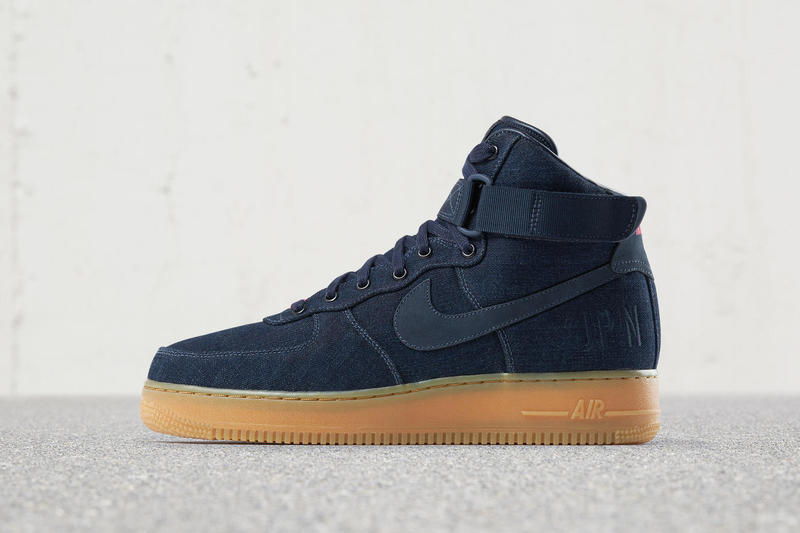 Nikeid Air Force 1 High Indigo Denim Gum Sole Hypebeast