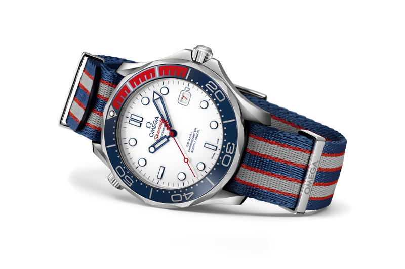 James Bond OMEGA Seamaster Diver 300M Commanders Watch Limited Edition timepiece red white blue british royal navy