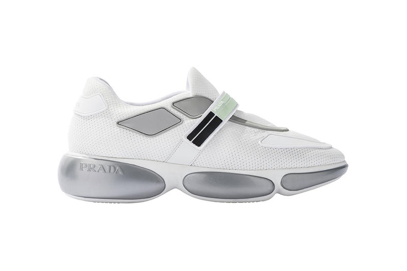 Prada Cloudbust Sneakers Shoes Footwear 2017 Fall Winter White Green Pink Black strap pods silver