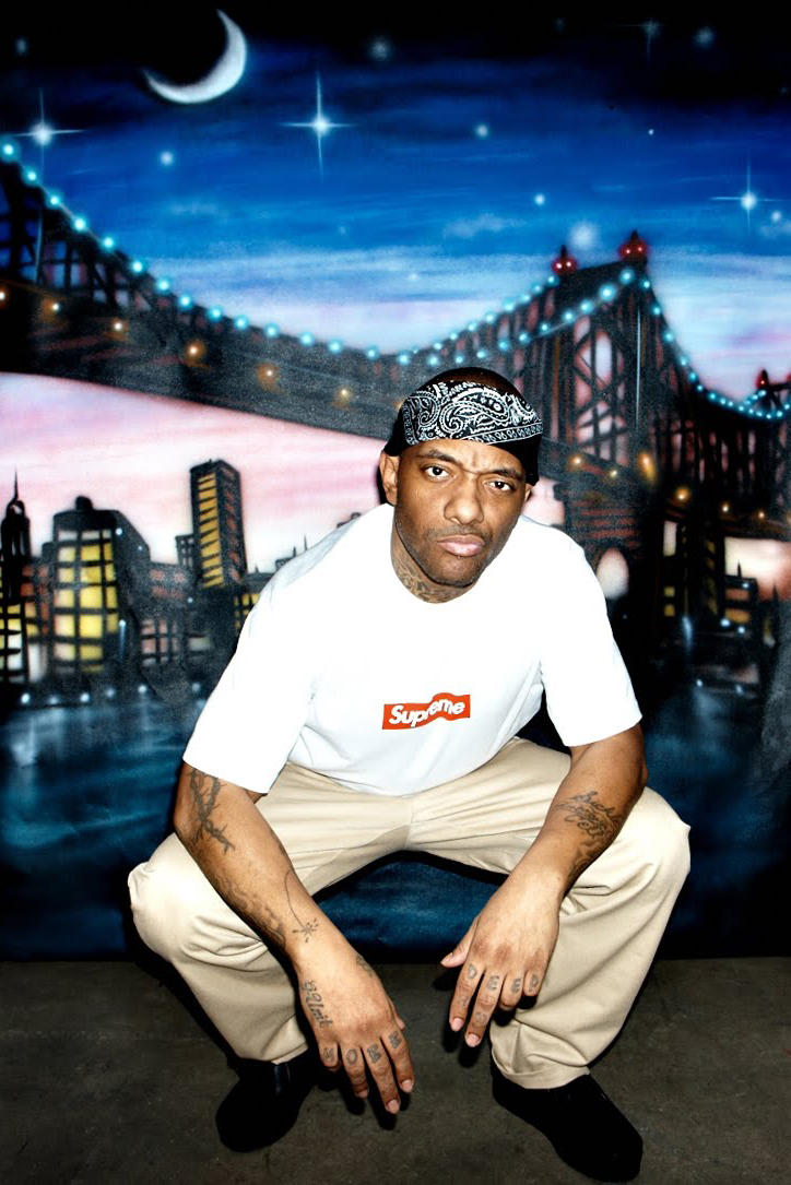 Prodigy Mural Queens Vanalized Repaired supreme jail prison photo picture pose squat bandana