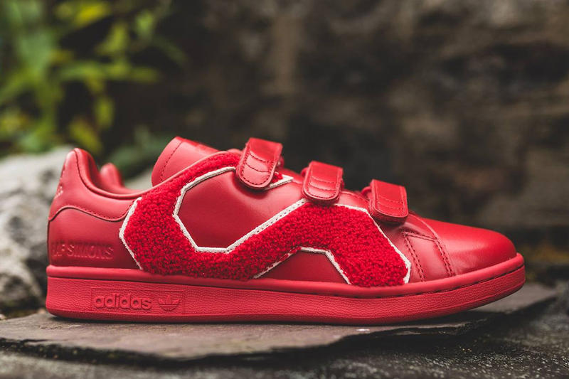 Raf Simons adidas Originals Stan Smith Comfort Badge Red White Black 2017 Summer Sneakers Footwear Shoes